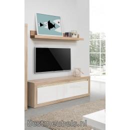 LISSE 2 , Tv-Meubel met hoogglansfronten + Wandplank