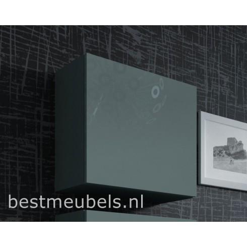 Design hoogglans grijs hangkastjes VERDI , vierkant 50 x 50 cm