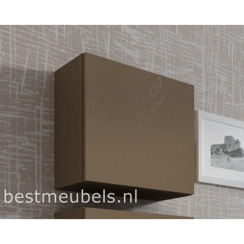 Design hoogglans bruin hangkastjes VERDI , vierkant 50 x 50 cm