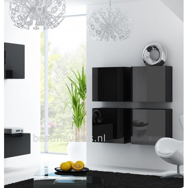 Zwarte Hoogglans Ladenkast.Verdi Zwevend Design Dressoir Hoogglans Wit Zwart