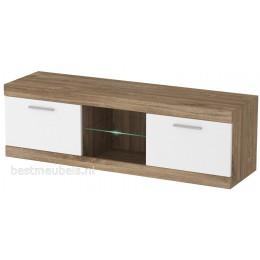 GRENADA Tv-meubel + wandplank Hoogglans Wit