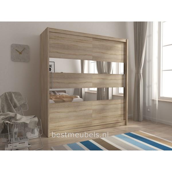 schuifdeurkast met spiegel. Black Bedroom Furniture Sets. Home Design Ideas