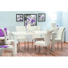 MERONE Eettafel Hoogglans Wit 160 cm