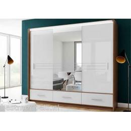 AMARO Hoogglans Schuifdeurkast met Spiegel 255 cm