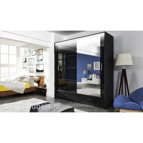 MERY Hoogglans Schuifdeurkast met spiegel 208 cm