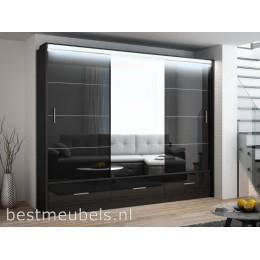 MERY Hoogglans Schuifdeurkast met Spiegel 255 cm