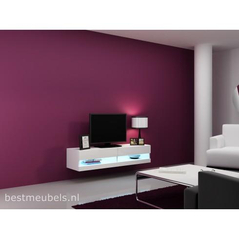 VERDI 9 NIEUW 140 cm Zwevend Tv-Meubel Tv-Kast Hoogglans