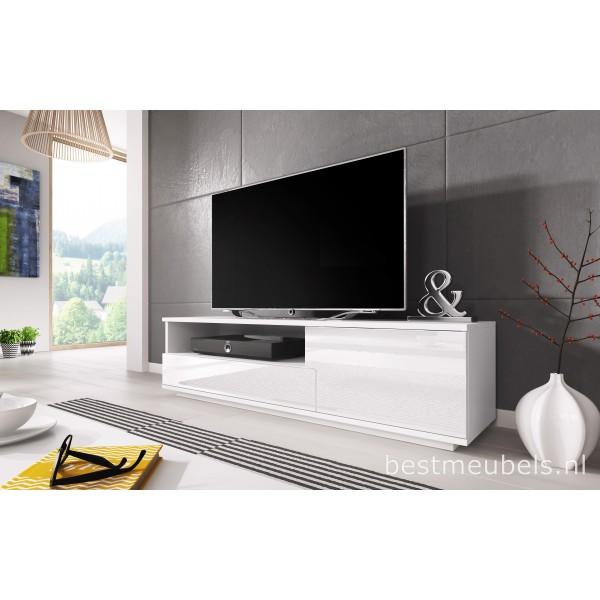 Mink tv meubel hoogglans wit zwart tv kast for Hoogglans wit tv meubel