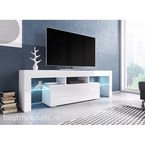 Tv Meubel In Wit Hoogglans.Tygo 138 Cm Tv Meubel Hoogglans Wit Zwart Tv Kast Direct Uit