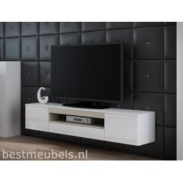 VEEN Tv-meubel , Zwevend tv-kast , hoogglans wit, zwart.
