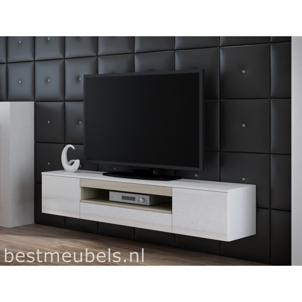 Veen tv meubel zwevend tv kast hoogglans wit zwart for Tv dressoir hoogglans wit