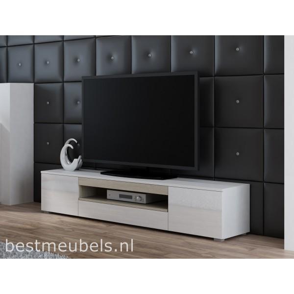 Tv Kast Zwart Wit.Veen Tv Meubel Zwevend Tv Kast Hoogglans Wit Zwart Tv