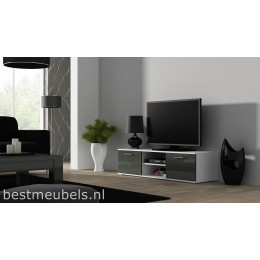 SORRENTO Tv-meubel 140 cm Hoogglans Grijs , Wit