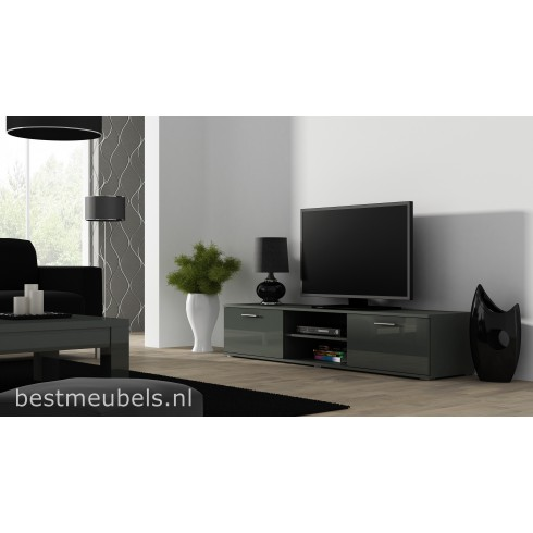 sorrento tv meubel 180 cm hoogglans grijs wit. Black Bedroom Furniture Sets. Home Design Ideas