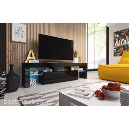 TYGO 158 cm Tv-meubel Hoogglans Wit , Zwart Tv-kast