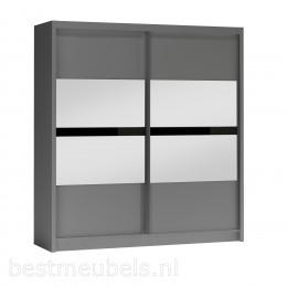 BUENA 203 cm Grafiet Schuifdeurkast met spiegel