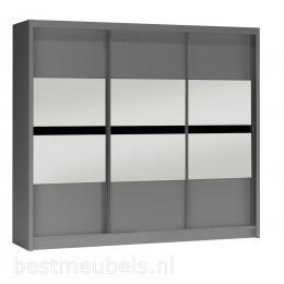 BUENA 250 cm Grafiet Schuifdeurkast met spiegel