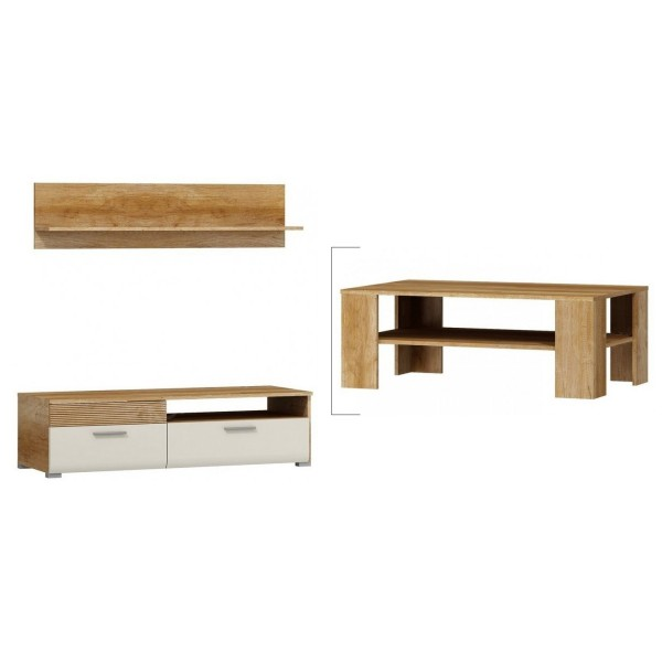 Tv Kast Jasmijn Wit.Tv Meubel Lukka Met Wandplank Salontafel Sale Home Best