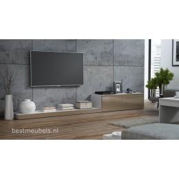 LEMI Tv-meubel hoogglans bruin tv-kast 300cm