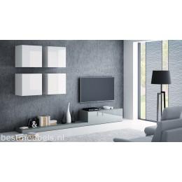 PERI 2 Tv-wandmeubel Hoogglans wit, grijs.