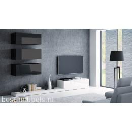 PERI 3 Tv-wandmeubel Hoogglans wit, zwart.