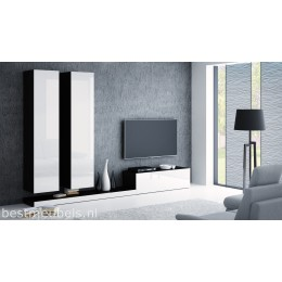 PERI 4 Tv-wandmeubel Hoogglans wit, zwart.