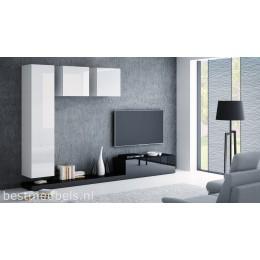 PERI 5 Tv-wandmeubel Hoogglans wit, zwart.