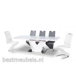ARINA 3 Eettafel Hoogglans Wit, Uitschuifbaar
