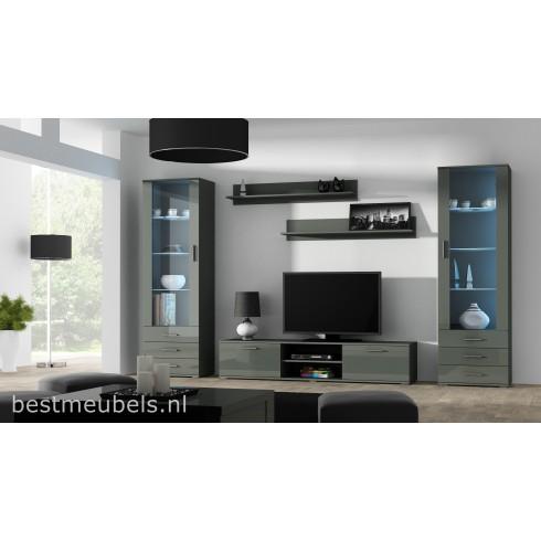SORRENTO 4 Tv-wandmeubel, Tv-meubel Hoogglans grijs
