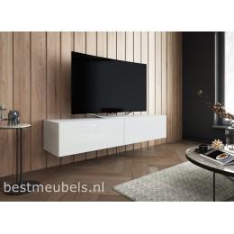 SIBBE 150 cm zwevend tv-meubel Hoogglans Wit