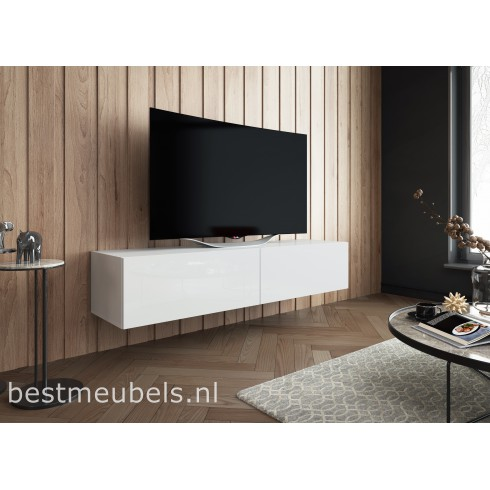 Sibbe 150 cm zwevend tv meubel hoogglans wit for Hoogglans wit tv meubel