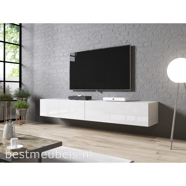 Sibbe 200 cm zwevend tv meubel hoogglans wit for Hoogglans wit tv meubel