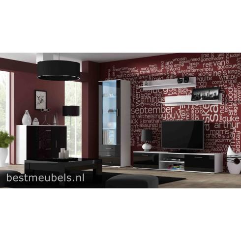 Sorrento 2 Woonkamerset Hoogglans Zwart Wit Direct Uit Voorraad Leverbaar Home Best