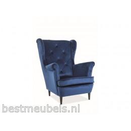 LAPIO Comfortable Fauteuil Velvet, Donkerblauw.