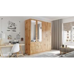 PALENA 4D Kledingkast met spiegel , Garderobekast met 3-deurs