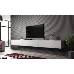 VERDI 300cm Zwevend Tv-Meubel Tv-Kast Hoogglans