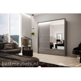 MERY 208cm Schuifdeurkast met spiegel.