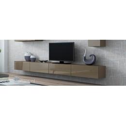 VERDI 11 280cm Zwevend Tv meubel Hoogglans Bruin