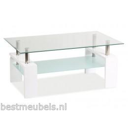 LANA Salontafel 100cm Hoogglans Wit - Glas