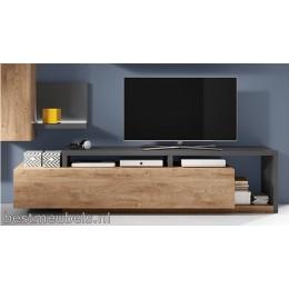 BADIA TV-meubel Eiken Ribbeck - Antraciet