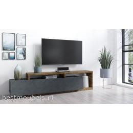 BADIA TV-meubel Donker Grijs / Eiken Matera