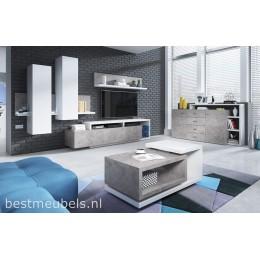 BADIA Complete Woonkamer , Wit / Grijs ( betonlook )