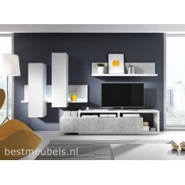BADIA TV- Wandmeubel Wit / Grijs ( betonlook )