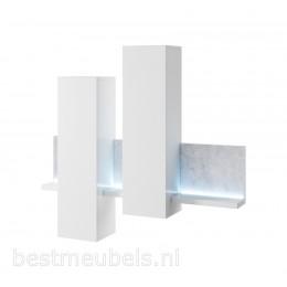 BADIA Hangende kasten , Wit / Grijs (betonlook )