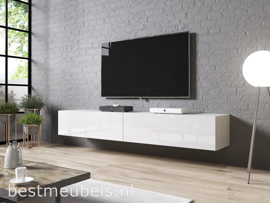Verbazingwekkend SIBBE 200 cm zwevend tv-meubel Hoogglans Wit ST-43